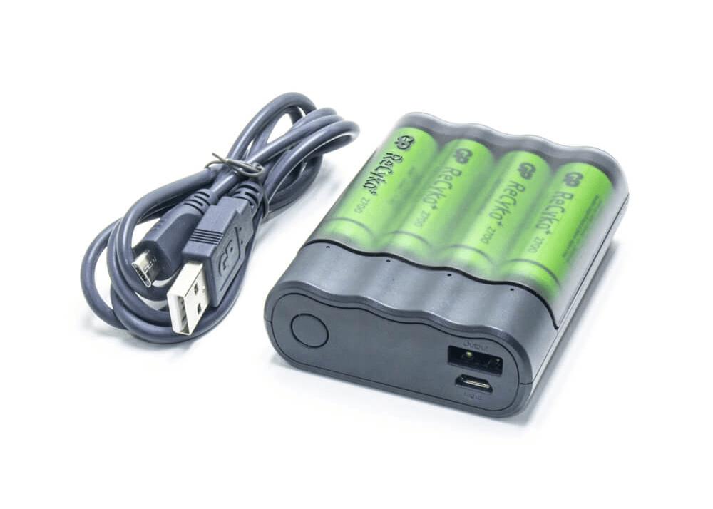 USB Şarj Cihazı ve 4 x AA Şarj Edilebilir Pil