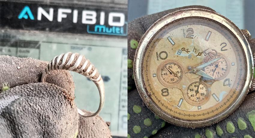 Anfibio Multi Dedektörle Gümüş Yüzükler ve Saat - Kapak